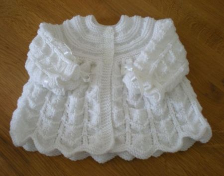 d471d28ba knitted baby clothes | Hand knitted matinee jacket For Sale - New ...