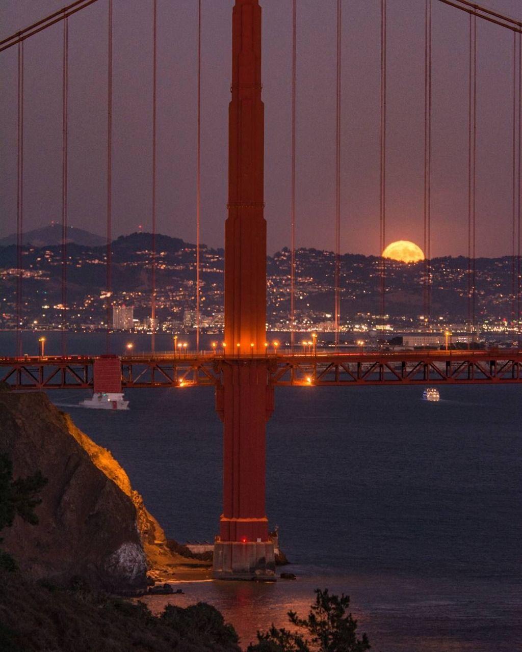 Harvest Moon In San Francisco By Lifeonclaude9 Sanfrancisco Sf Bayarea Alwayssf Goldengatebridge Living In San Francisco Golden Gate Bridge Golden Gate