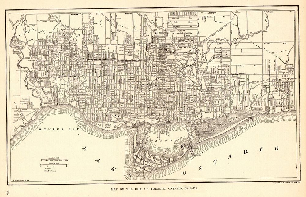 1918 Antique Toronto Map Of Toronto Canada Black And White Gallery