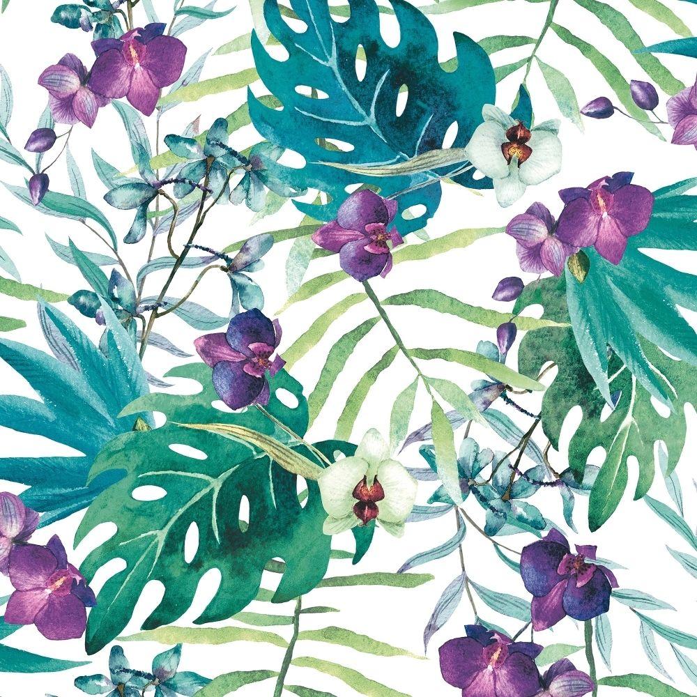 Muriva Tropical Floral Wallpaper White / Multi-Coloured (601557 ...