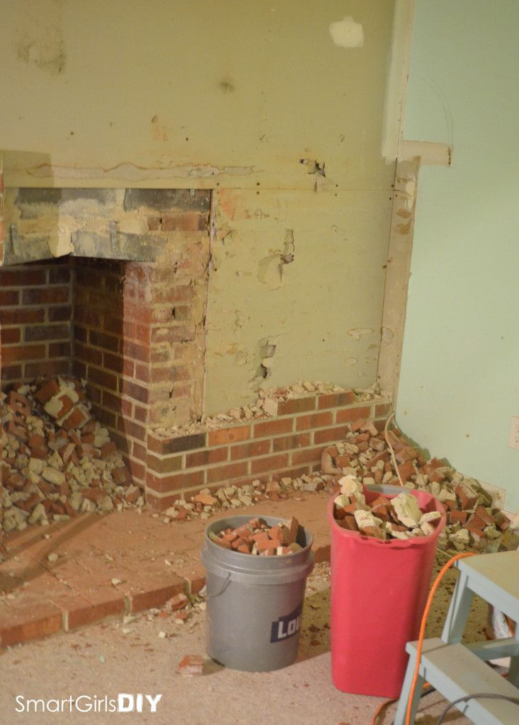 Brick fireplace wall demolition - Ladies Demo + Wine Night! | DIYs ...
