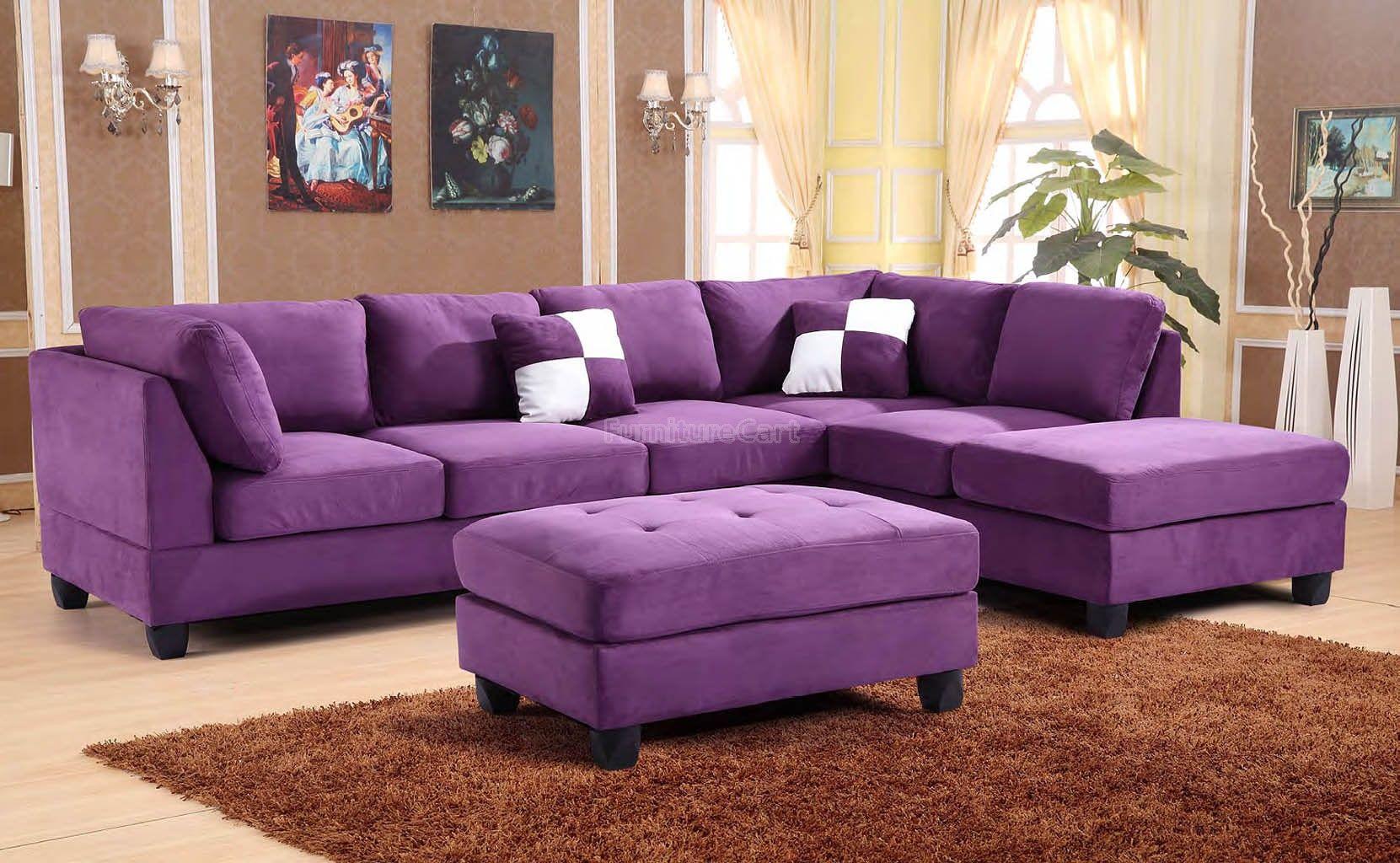G637 Reversible Sectional Set Purple Purple Living