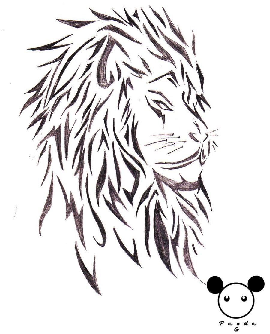 Tattoo Designs White Background: Lion Tribal Tattoo Design Over White Background