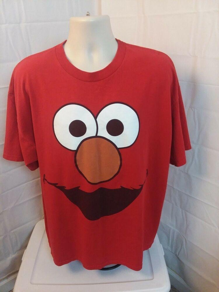 bcac54f94 Sesame Street Men's T-Shirt Red Size 2X Elmo Smiling Face Short Sleeve  Pullover #SesameStreet #GraphicTee