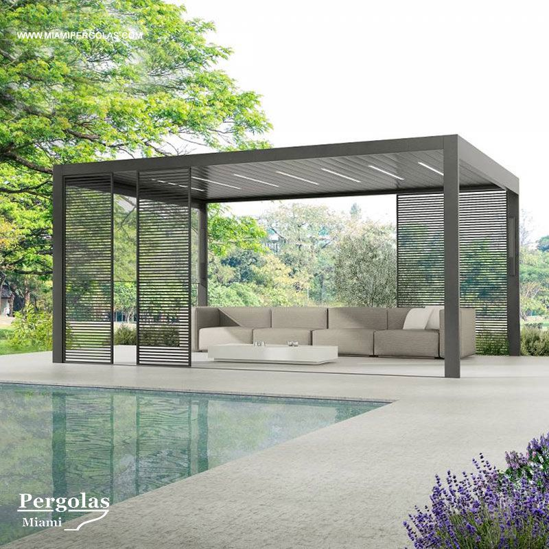 Louvered Roof Systems Completely Made Of Aluminum Allows Light And Breeze When Open Made Of Aluminum Extrusions Spec Modern Gazebo Patio Design Pergola Patio