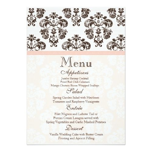 Pink and Brown Vintage Damask Wedding Menu Card Pinterest