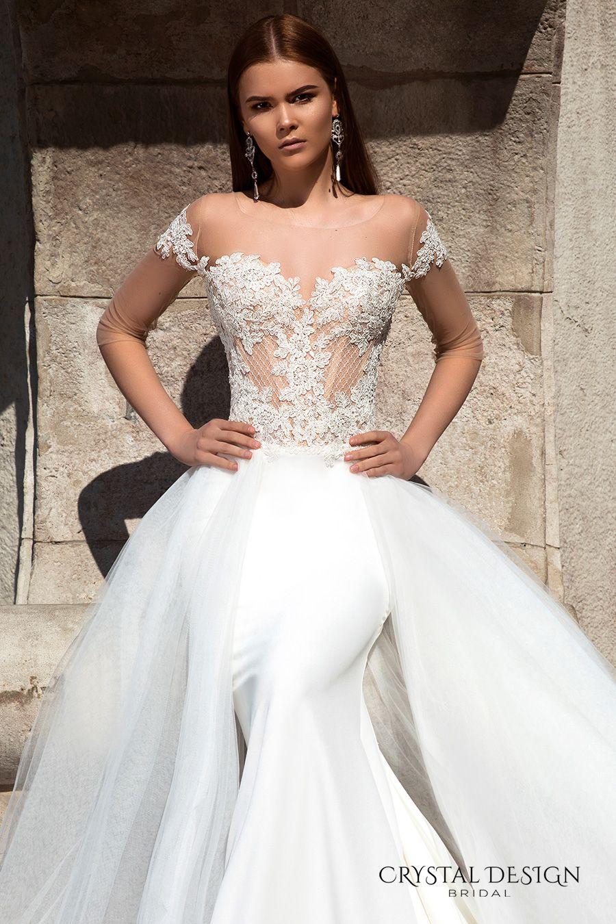 Popular crystal design bridal off the shoulder sweetheart neckline lace bodice glamorous sheath wedding dress a