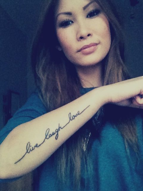 live laugh love tattoo, in own hand writing :)