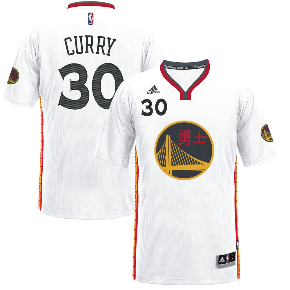 c618cb937630 Men s Golden State Warriors Stephen Curry adidas White 2017 Chinese New Year  Swingman Jersey