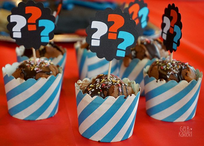 Drei Fragezeichen Kindergeburtstag - wir übernehmen jeden Fall - Gelbkariert #halloweencupcakes