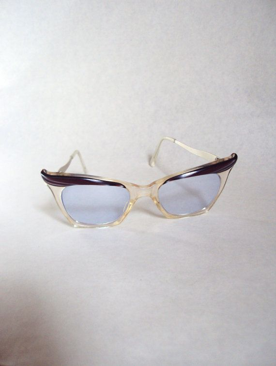Plum 1950s blue tinted cat eye glasses