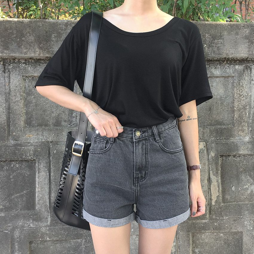 Casual Day Out With Daily About Black Shirt And High Waist Shorts Korean Street Fashion Casual Fashion Fashion