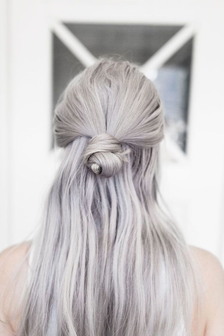 Long u grey thecoveteur hair pinterest gray half bun and