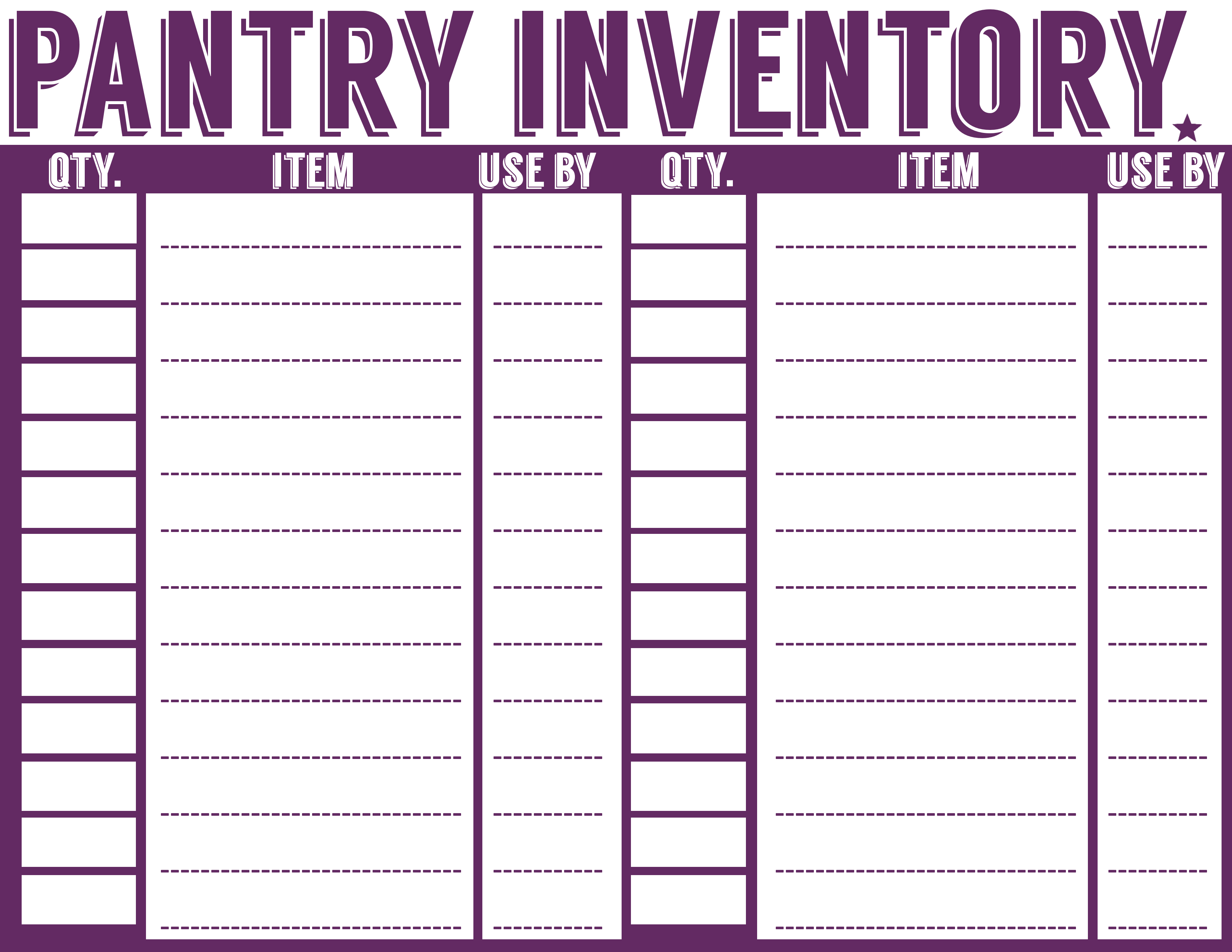 Free Printable Menu Planner, Shopping List & Inventory Sheets ...