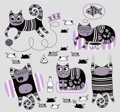Funny Floral Pattern Cats Vector