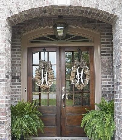 Wooden Monogram Wreathes Brick Exterior House Front Porch Decorating Exterior Doors