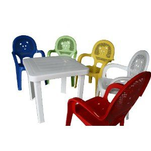 Resol Childrens Kids Garden Outdoor Plastic Chairs U0026 Table Set   Yellow  Chairs, White Table