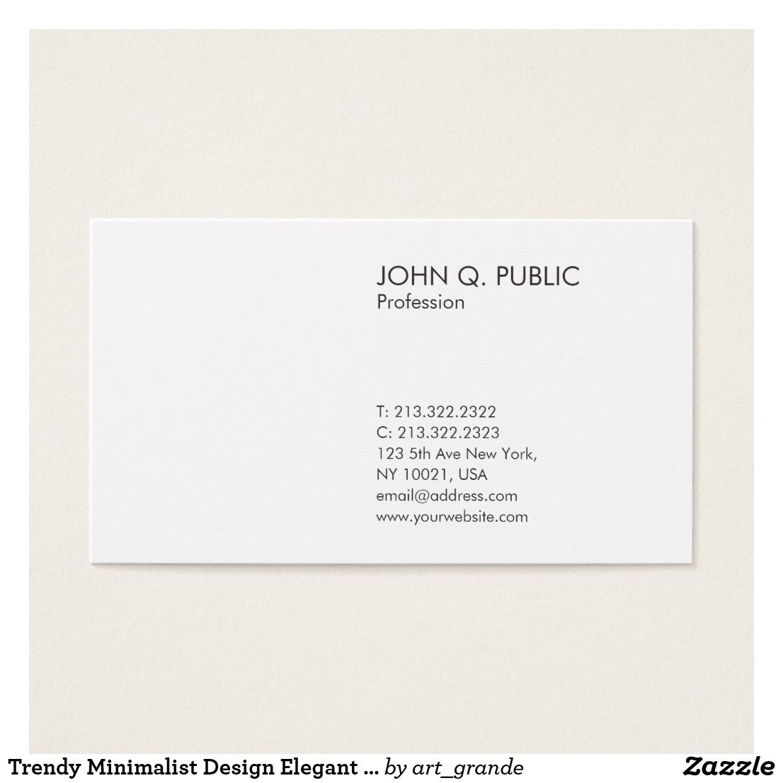 trendy minimalist design elegant plain white business card