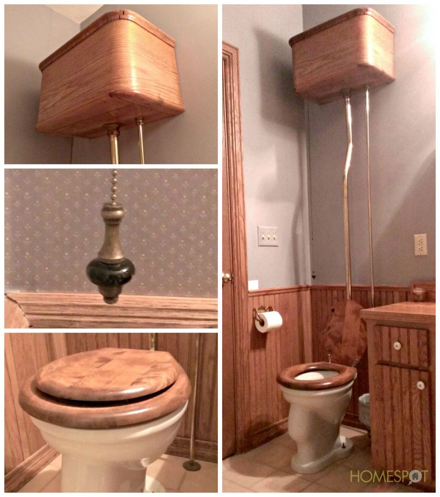 Antique toilet with wall-mounted tanks and pull chain flush ...
