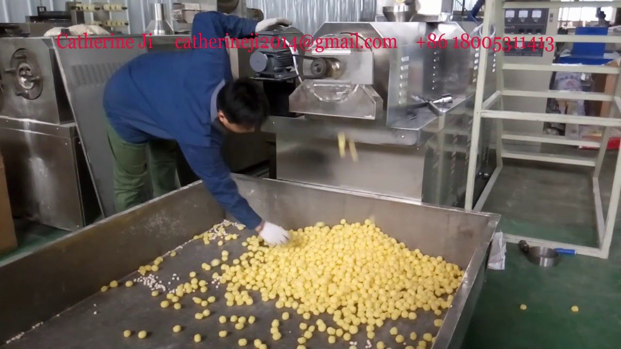 384 high quality cheese ball snack food extruder machine testing for
