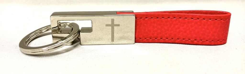 Valet Key Chain with Cross - Red
