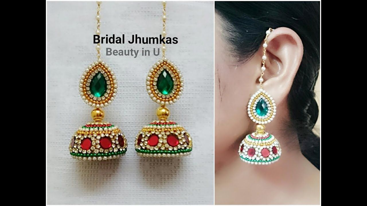 How to make Designer Bridal Silk Thread Earrings/Jhumkas at Home ...