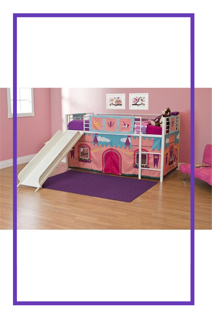 Girls Princess Castle Loft Bed with Slide Bunk Bed Twin