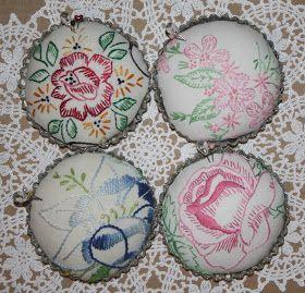 Vintage Embroidered Pin Cushion Tart tin