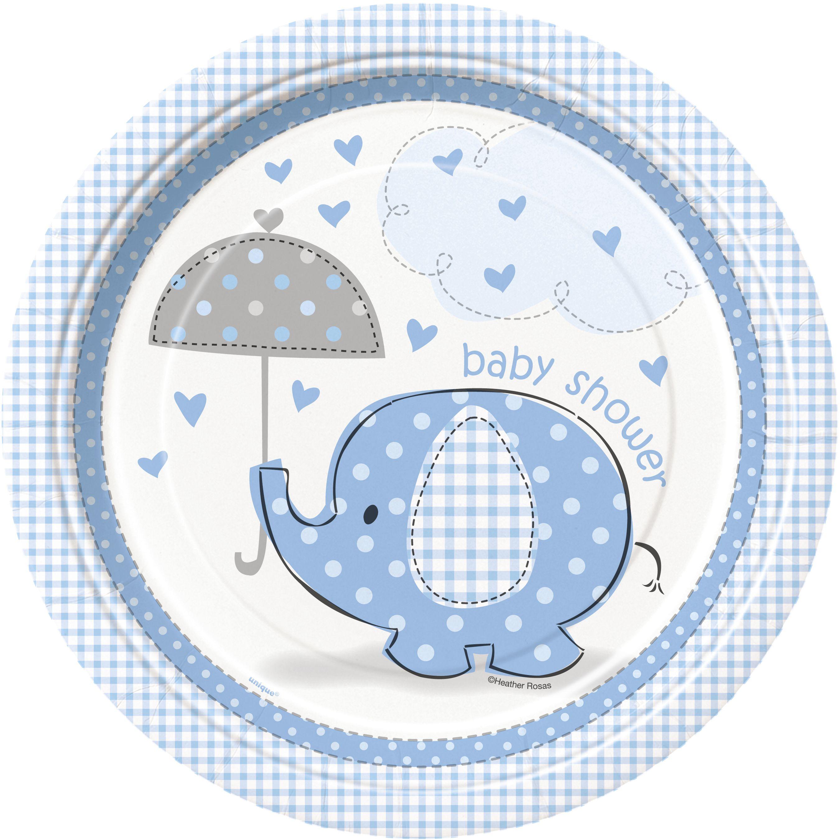 Umbrellaphants Blue Baby Shower Cake Topper