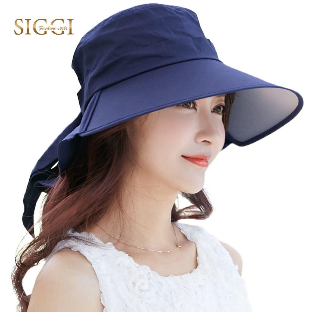 69ffb14faf52f SIGGI Women Summer Sun Hat cotton Cap chapeu feminino praia chapeau femme  bill neck flap UV