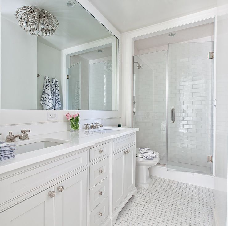 White glass subway tile for the home bathroom all - White bathroom ideas photo gallery ...