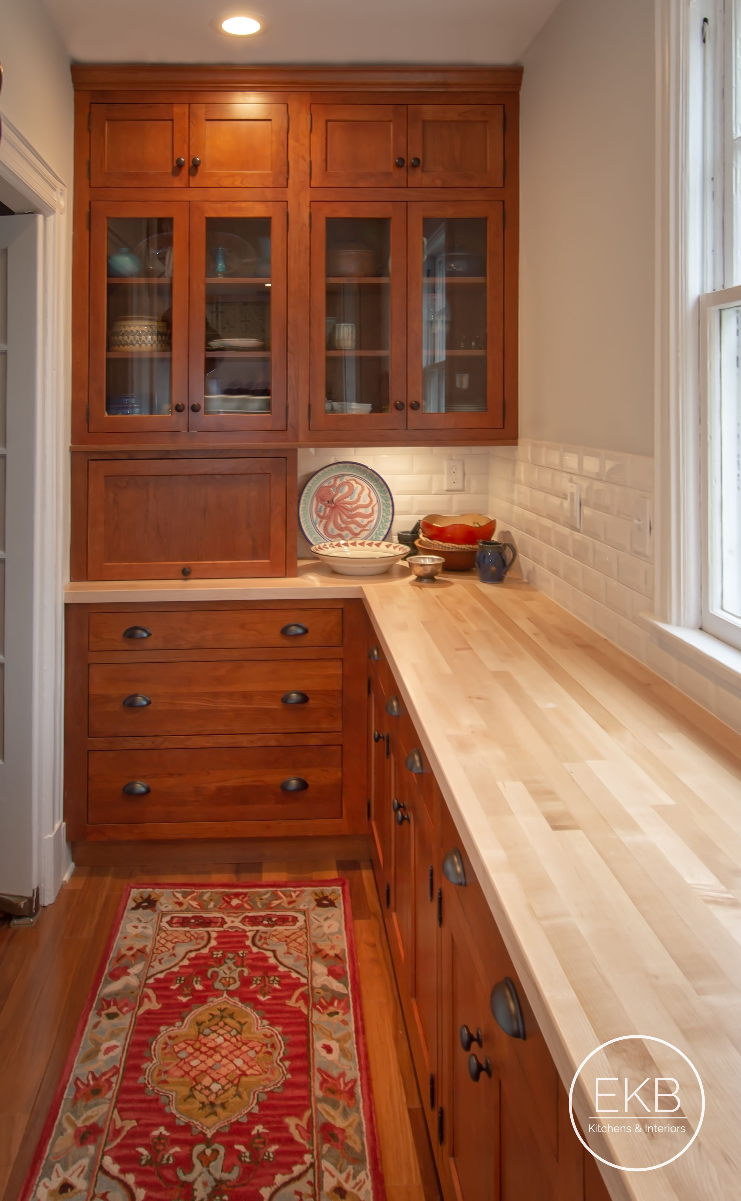 """Omega cherry inset in """"Ginger"""" and butcher block"""
