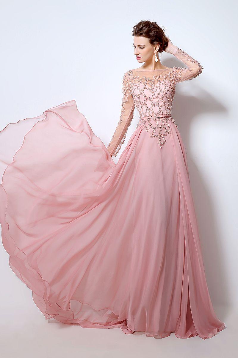 Pink Prom Dress,Long Sleeve Prom Dress,Long Sleeve Evening Dress ...