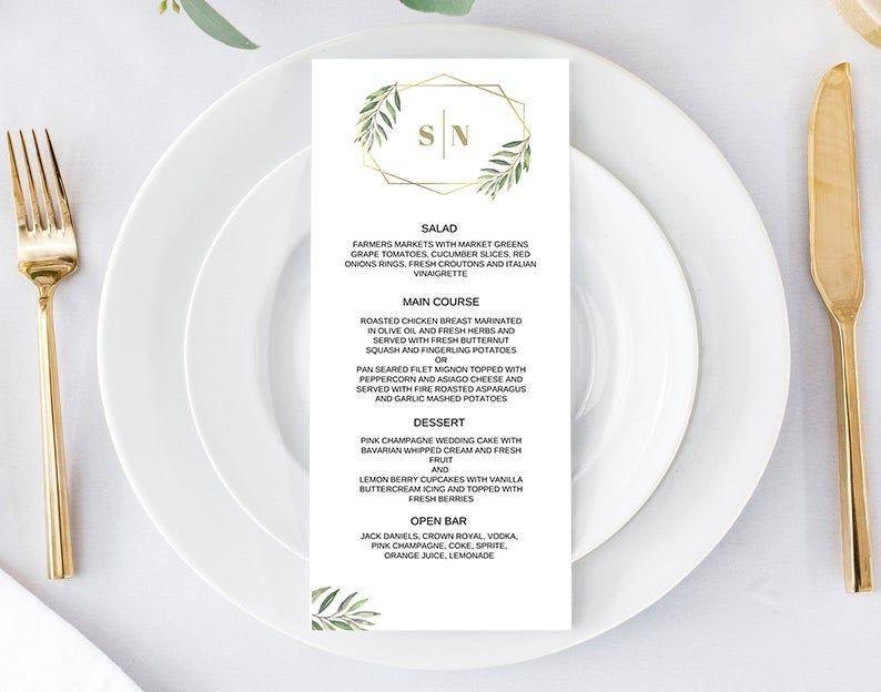 Printable Wedding Menu   Wedding Menu Template   Wedding Menu Card   Menu Template   Printable Wedding Menu Template   Reception Menu   K101