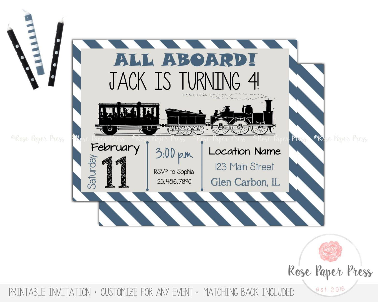 Train Birthday Invitation, Vintage Train Birthday Party   Custom ...