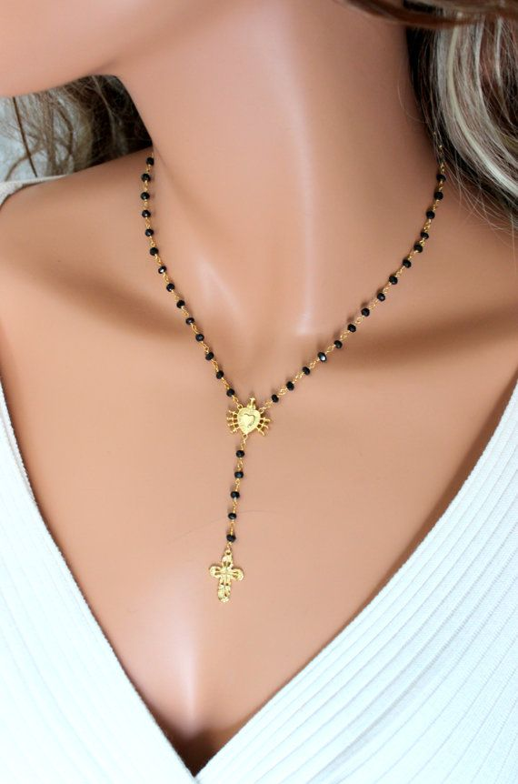 Black Spinel Rosary Style Necklace Seven Sarrows of Mary Gold Cross