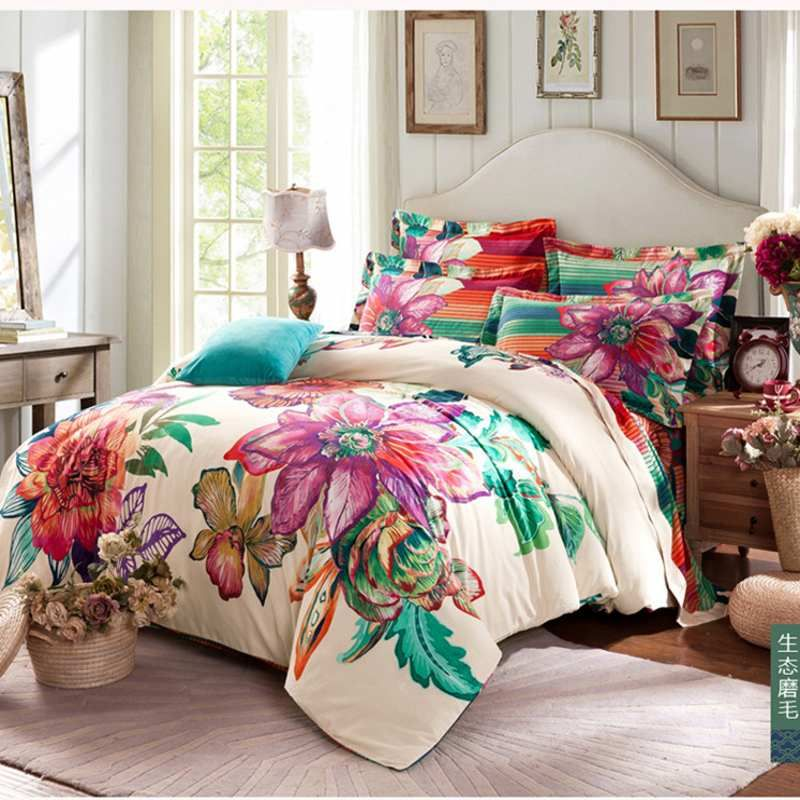 Winter Warm 100 Sanded Cotton Bedding Sets 4pcs Bohemia Boho Duvet Cover Set Bedclothes Bedsheet Pillowcase Bedding Sets Queen Bedding Sets Boho Bedding Sets