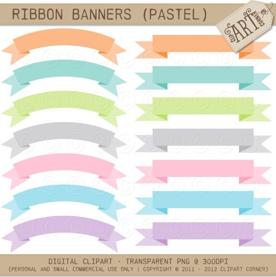 Banner pastel. Ribbon banners luvly marketplace
