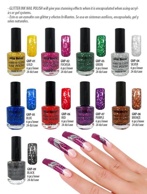 Glitter INK |Nail Polish | #MiaSecret #GNP | esmaltes | Pinterest ...