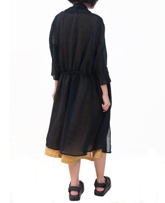 Black Dress Translucent Linen Coat Loose Dress by OurLittleDaisy, $116.00