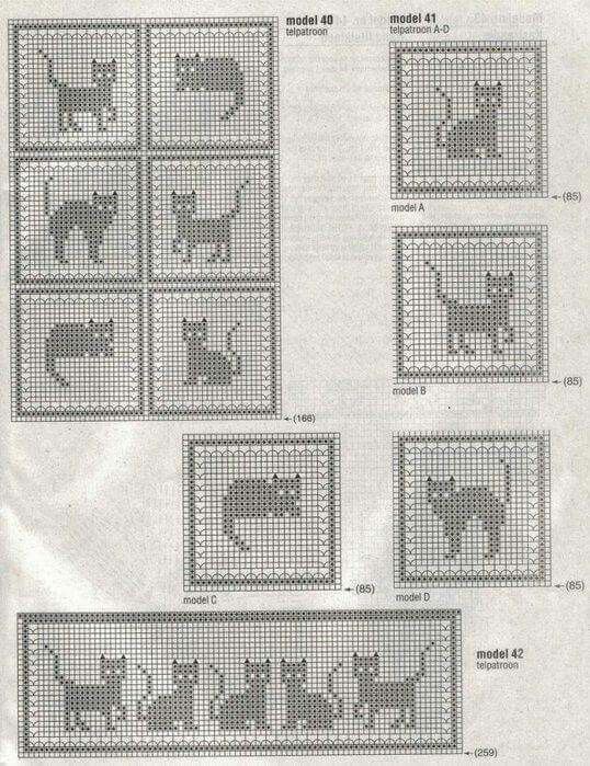 Esquemas de gato a crochet | beauty set of crochet | Pinterest ...