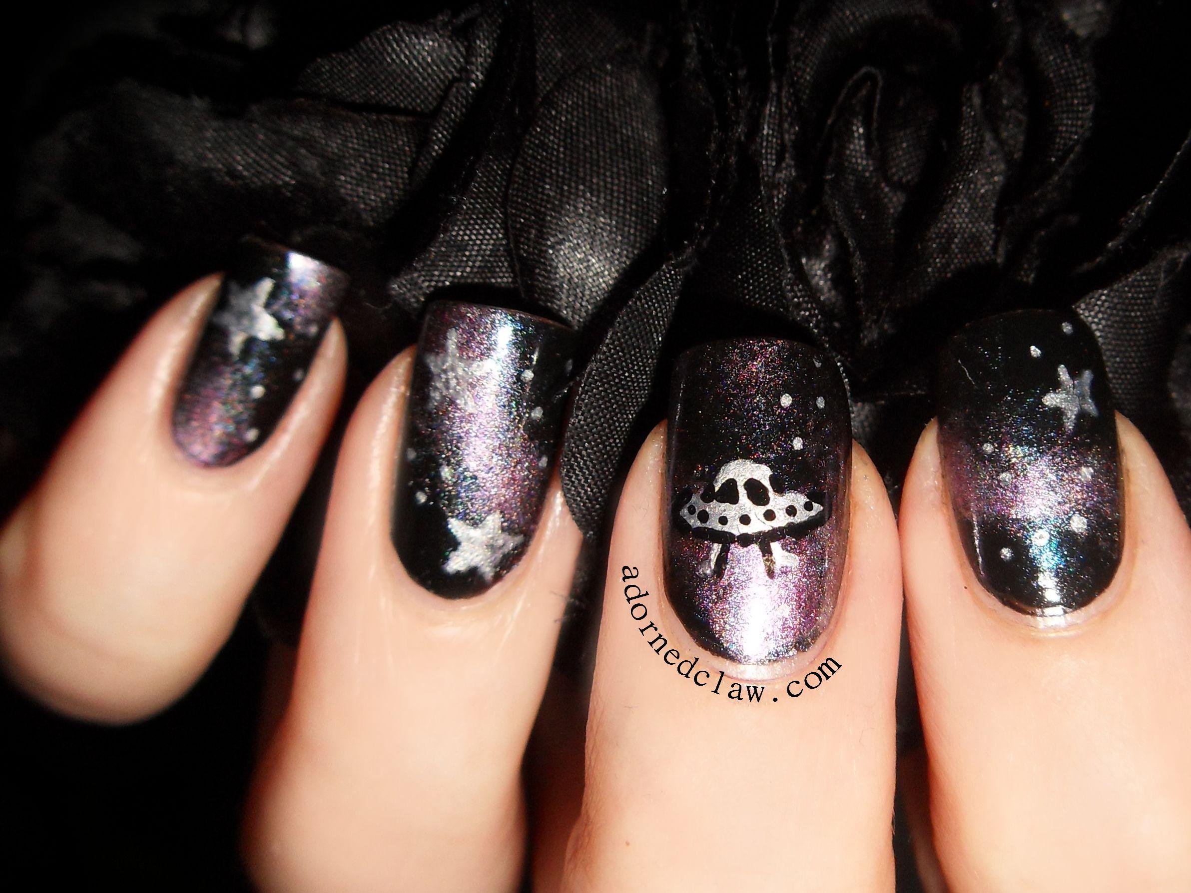 Galaxy The Adorned Claw Alien Nails Galaxy Nail Art Nails