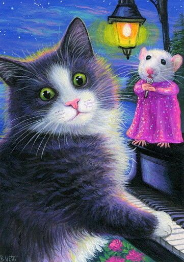 ACEO original tuxedo cat mouse piano moonlight serenade painting art | Art, Paintings | eBay!