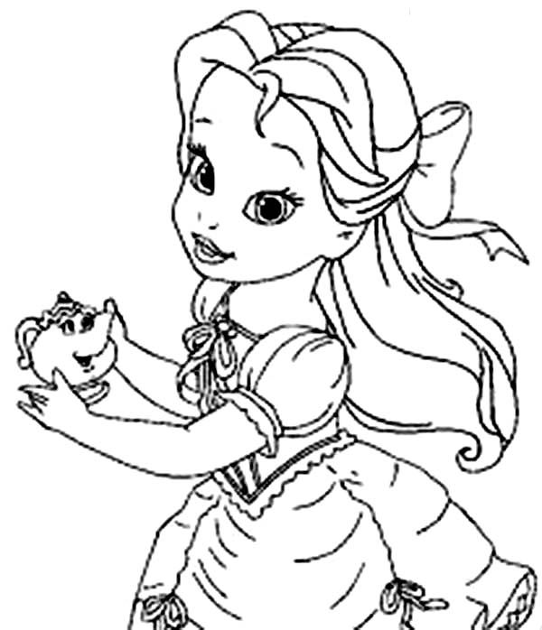 Belle Young Belle Holding Mrs Potts Coloring Pages