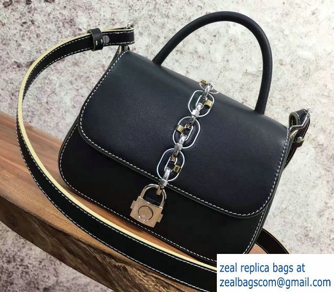4288d841c2c0 Louis Vuitton Chain and Lock Top Handle Small Bag Black Spring 2017 ...