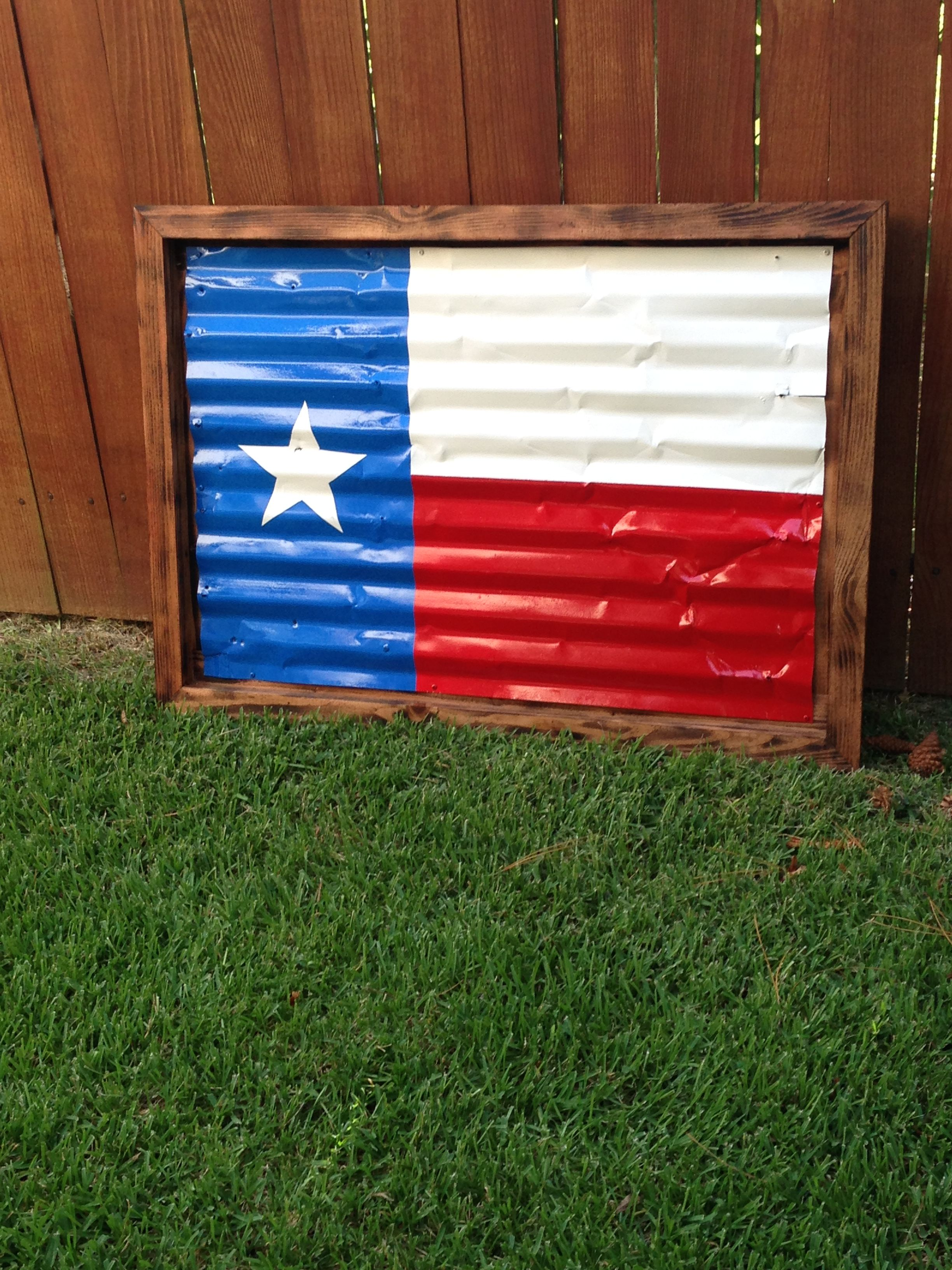 Rustic Texas Flag made from old sheet metal and pine fence pickets.