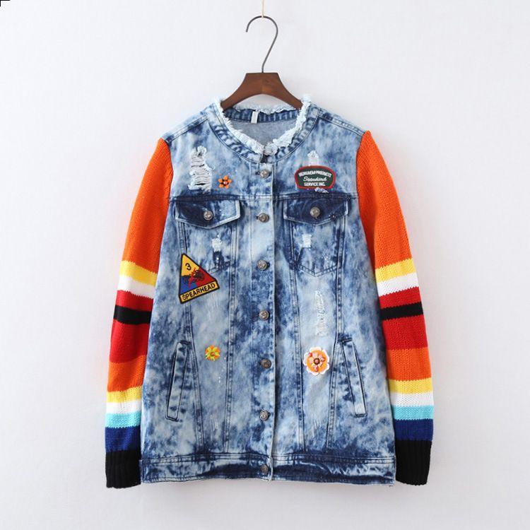 runway 2017 women spring autumn brand fashion sweater Patchwork sleeve bird flower embroidery short sexy denim jean jacket
