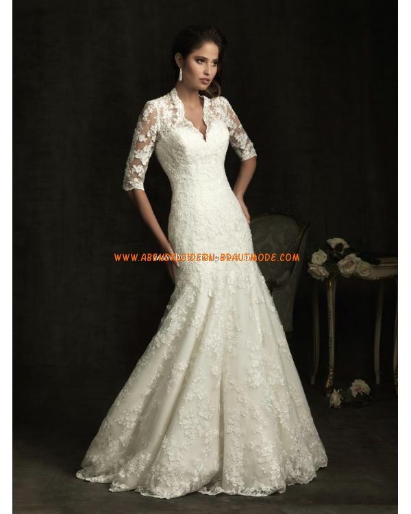 Luxuriöse sexy Brautkleider aus Spitze Meerjungfrau mit Ärmel ...