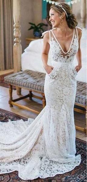 Photo of V-neck Lace Mermaid Cheap Wedding Dresses Online, Cheap Lace Bridal Dresses, WD478