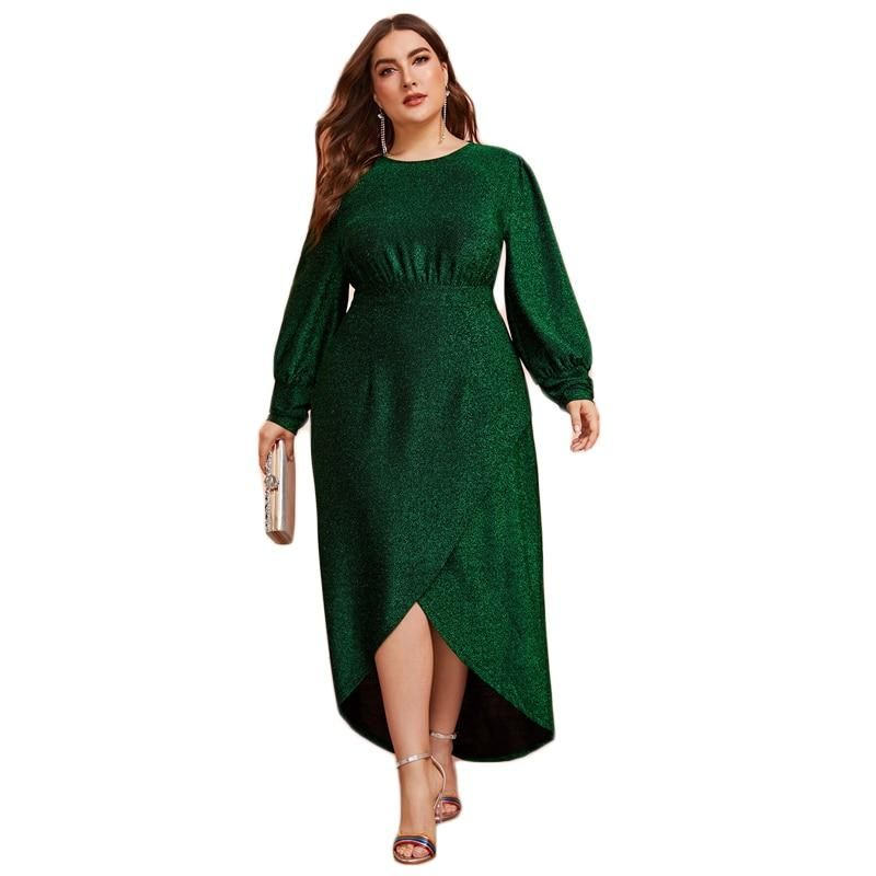 Green Glitter Holiday Lantern Sleeve Faux Wrap Style Plus Size Party Dress